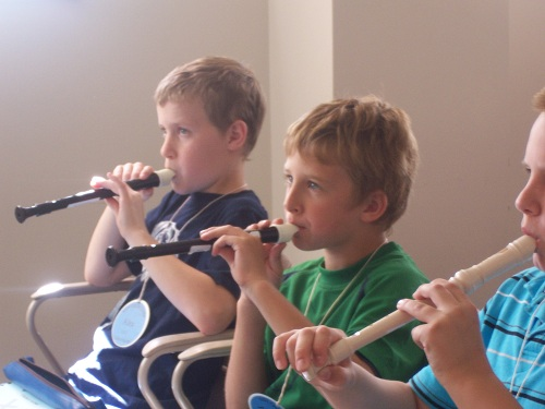 Third and fourth graders learn recorders